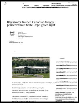 Background article - Blackwater trained Canadian troops, police without State Dept. green light