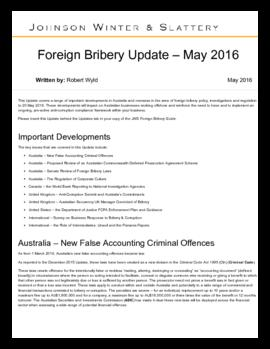 Background information - Foreign bribery update