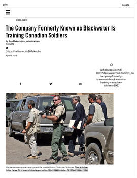 Background article - The company formerly known as Blackwater is training Canadian soldiers (1)