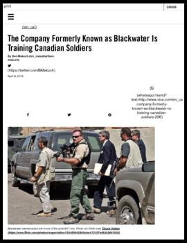 Background article - The company formerly known as Blackwater is training Canadian soldiers