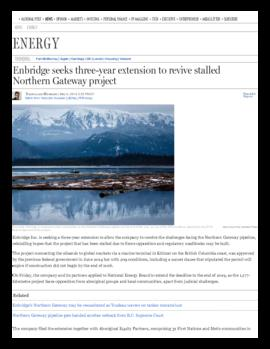 Background article - Enbridge seeks three-year extension to revive stalled Northern Gateway proje...
