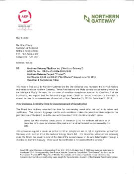 Northern Gateway Pipelines Inc. request for extension