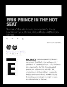 Background article - Erik Prince in the hot seat
